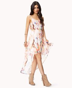 Cream and Peach Abstract Print High-Low Dress