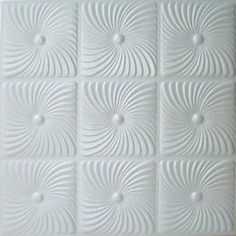 """Faux Ceiling Tile - 20x20"""" Prato White Foam by Antique Ceilings. $2.94. Can be installed right over Pop Corn ceiling. Easy to cut. Can be painted with most any water or latex based paints. Made from high quality Polystyrene foam. Easy to install - with most any Mastic ceramic tile adhesive. The ceiling tiles and panels are made of uniform extruded polystyrene foam. With this technology, it is possible to obtain smooth and even surface. They will give your ceiling an extr..."""