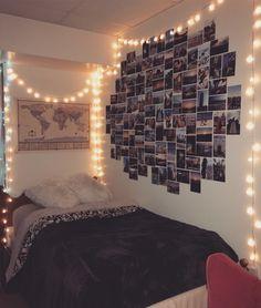#dorm #doormroom #dormroomdecor #lights #pictures #pictureides #wallideas #worldmap #dormroomideas