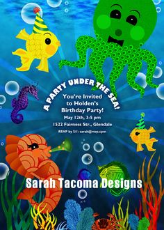Under the SEA OCEAN Fish Tropical Customized by sarahtacoma, $18.00   Art Party Invitation Birthday Printable Cupcake Toppers Banner Water Labels Favor Tags fish ocean under sea water octopus