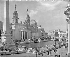 """WORLD'S COLUMBIAN EXPOSITION OF 1893 """"The Dream City, Chicago"""", PALACE OF MECHANIC ARTS - The Palace of Mechanic Arts and the lagoon in front [east facade facing the south canal] at the 1893 World Columbian Exposition, also known as the Chicago World's Fair. ALL OF THE EXPOSITION CAN BE VIEWED AND READ ABOUT AT http://columbus.iit.edu/"""