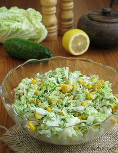 surowka-z-kapusty-pekinskiej1 Cobb Salad, Food And Drink, Rice, Baking, Dinner, Kitchen, Diet, Food And Drinks, Salads