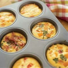 Mini Frittatas on BigOven: These individual servings are perfect because they bake so quickly!  Also you can tailor the ingredients (add mushrooms, peppers and onions) to some, but not all of the servings based on your family's preferences.