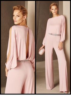 light pink jumpsuit and a glitter belt Nice light pink jumpsuit and a glitter belt Pink Outfits, Classy Outfits, Chic Outfits, Pink Jumpsuit, Jumpsuit Outfit, Jumpsuit Style, Halter Jumpsuit, Wedding Jumpsuit, Trendy Outfits