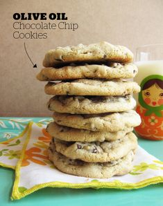 Olive Oil Chocolate Chip Cookies - I made these and they are really good for a lower calorie cookie! No butter! I added pecans though :)