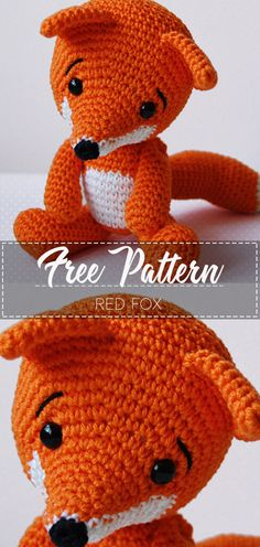 Crochet animals fox - crochet animals free, crochet animals am. Crochet Fox Pattern Free, Crochet Animal Patterns, Crochet Motif, Easy Crochet, Free Pattern, Crochet Stitches, Free Crochet, Crochet Animal Amigurumi, Knitted Animals
