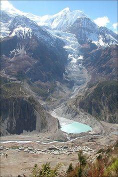 Mt. Gangapurna and Gangapurna Glacier and Lake. Manang village at the foot. Annapurna Circuit trekking, Nepal