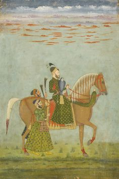 A NOBLEMAN ON HORSEBACK, INDIA, MUGHAL, LATE 17TH CENTURY gouache with gold on paper, with some evidence of retouching