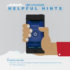 Hyundai Helpful Hint #361 - Beat the cold. Use the Blue Link app to remote-start and warm up your car before getting in. #HyundaiHint #KorumHyundai