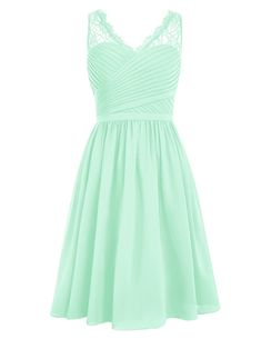 Dresstells® Short Homecoming Dress V-neck Ruched Chiffon Bridesmaid Prom Dress Mint Size 6