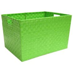 "Store, organize and display items in this sturdy Green Plastic Weave Basket.    	The basket is approximately 17"" x 12 3/4"" x 10 1/4""."