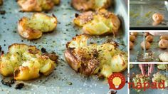 Roztlačené zemiaky pečené s bylinkami a olivovým olejom
