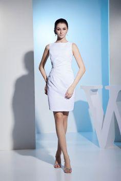 Column Bateau Natural Waist Mini Full Back Sleeveless Bridesmaid Dress