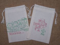 Hey, I found this really awesome Etsy listing at https://www.etsy.com/listing/161125098/6-christmas-gift-bags-muslin-3-x-5-owl