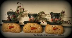 The Simply Prim Shoppe    3 Sweet Primitive Snowmen ornaments handmade by me. Listed on ebay.
