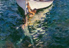 Joaquín Sorolla (Spanish,  1863 – 1923)   The White Boat, Jávea, 1905