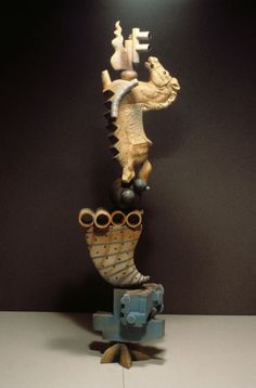 Michael Hough, ceramic sculpture, Totem Equineous, 79 in. tall, 1997