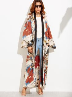 We say Floral Printed Maxi Long Sleeve Belted Kimono power. Style it with anything you like for that added touch of sophistication.Fabric has no stretch.Measurements of Kimono are featured in the image. Style Kimono, Mode Kimono, Kimono Outfit, Kimono Fashion, Hijab Fashion, Love Fashion, Fashion Outfits, Fashion Trends, Fashion Clothes