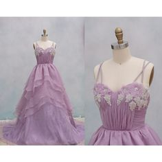 Light Purple Organza Wedding Dress Ball Gown Dress Backless Prom Dress... ($199) ❤ liked on Polyvore featuring dresses, wedding dresses, gowns, lavender dress, puffy dresses, backless dresses, layered prom dress and strap prom dresses
