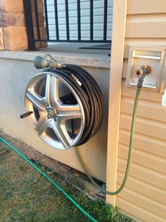 Garden Hose Holder, Jeep Bumpers, Door Gate Design, Car Part Furniture, Hose Reel, Water Hose, Diy Origami, Garage Workshop, Home Projects