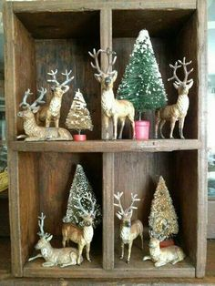 Rustic Deer Vignette with bottle brush trees - (Deer-io Christmas)