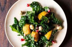 Hearty Kale Salad with Kabocha Squash, Pomegranate Seeds, and Toasted Hazelnuts