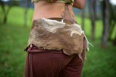 Felt Primitive Belt-Tribal Belt-Natural Costume-Feather