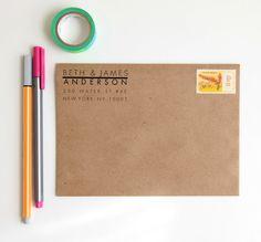 Return Address Stamp Custom Rubber Stamp by HunterandCoDesigns Wedding List, Wedding Stuff, Custom Rubber Stamps, Address Stamp, Craft Corner, Letter Writing, Return Address, Wedding Invitations, Invites