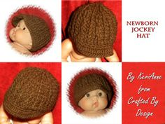 100% natural brown alpaca yarn  Newborn size Jockey hat