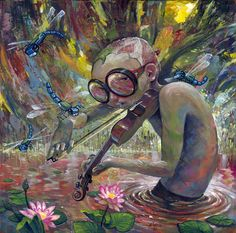 "Melody for the Primordial  by `jasinski on Deviantart    Acrylic on wood panel. 16x16 inches.  ""Melody"" is showing at Dorothy Circus Gallery in February 2012."