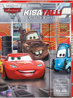 Autot 2: Kisatalli -pakkauksessa on mukana leikkialusta, maisemataustoja, siirtotarroja ja pahvisia Autot-hahmoja. Vehicles, Sports, Hs Sports, Car, Sport, Vehicle, Tools