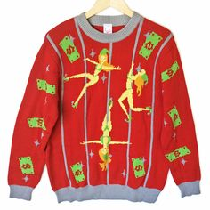 Pole Dancing Elves Funny Stripper Humor Tacky Ugly Christmas Sweater