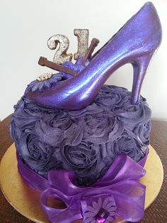 21st cake with Purple chocolate glitter shoe on top for a music lover and buttercream, via Flickr.