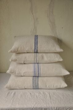beyondfrance:  Stack of linen grain sack cushions by Beyond France in House renovation photo shoot