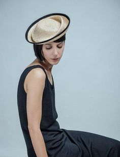 A straw hat with an haute twist. #etsyfashion