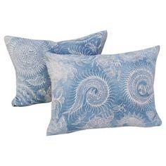 Check out this item at One Kings Lane! Indigo Faded Batik Serpent Pillows, Pair
