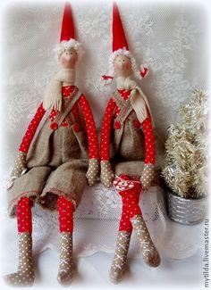 Куклы Тильды ручной работы. Ярмарка Мастеров - ручная работа Новогодние гномы Ян и Янина. Handmade.