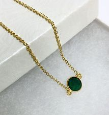 Natural Green Emerald Pendant 18k Gold Filled Layer Choker Necklace 16-17""