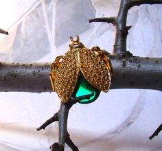 Bug Brooch Green Jelly Belly Design Gold Tone by BellesBeehive