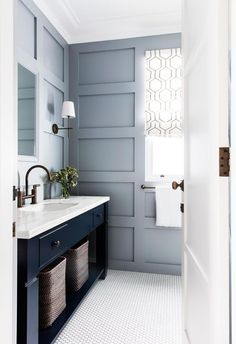 Master Bathroom Remodel Mood Board and Inspirations - hydrangea treehouse cottage bathroom design with blue board and batten, navy bathroom vanity, neutral bathroom, farmhouse bathroom design Navy Bathroom, Neutral Bathroom, Bathroom Interior, Modern Bathroom, Small Bathroom, Bathroom Ideas, Design Bathroom, Bath Ideas, Master Bathrooms