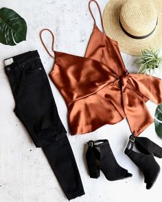"""The Jordyn wrap tie front satin crop top is such a gem. Features a v neck, wrap front, adjustable straps and a frill hem. 100% POLYESTER HAND WASH COLD     S M L   BUST 32"""" 34"""" 36""""   WAIST 26"""" 28"""" 30""""   LENGTH 21"""" 21"""" 21"""" Winter Outfits, Spring Outfits, Casual Outfits, Cute Outfits, Fashion Outfits, Womens Fashion, Autumn Winter Fashion, Spring Fashion, Satin Crop Top"""