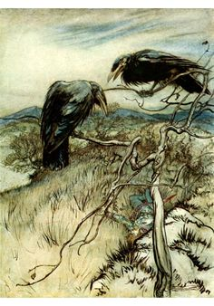 illustration, animal, bird, crow, raven, tree. Arthur Rackham: The Two Corbies