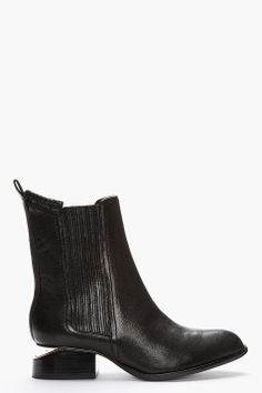 Alexander Wang Black Leather Rose Gold_heeled Anouck Chelsea Boots