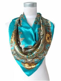 Women Polyester Silk Big Square Silk Scarf,Sale Satin Scarf Printed For Spring