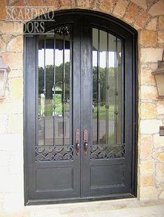 Custom English Wrought Iron & Glass Segmented Arch Doors