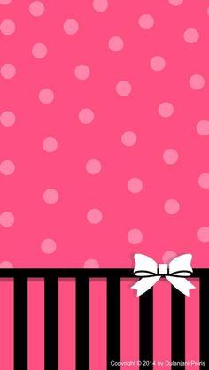 Pink Dots White Bow Wallpaper
