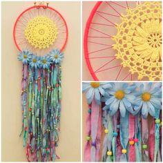 Tie Dye Dreamcatcher  neon pink yarn blue by GabyBrooksDesigns, $45.00