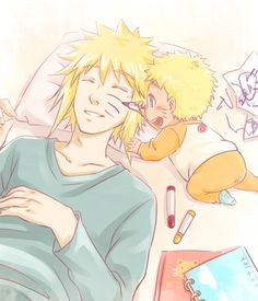 Naruto and Minato - Come on now. How many times have you wanted to do this? :)