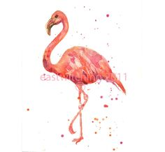 Watercolour FLAMINGO Print, flamingo painting, gift for mum, flamingo print £11.00