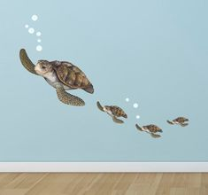 Create-A-Mural : Sea Turtle Family Wall Decals ~Under The Sea Decor Wall Stickers, Underwater Ocean Decals for Walls, Peel n Stick Room Decor Tortoise Vinyl Art for Bedroom Playroom Birthday Gift Kids Wall Decals, Wall Stickers Murals, Art Wall Kids, Wall Art, Wall Murals, Underwater Room, Ocean Mural, Butterfly Wall Decals, New Wall